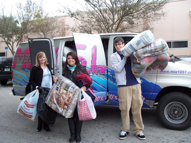 Mix crew dropping off blankets at the Coalition this morning
