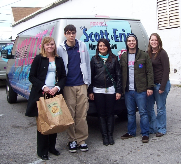 The MIX Crew and a Panera employee brought loads of blankets and cheer to the Coalition this morning