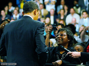 (CNN.com) President Obama talks to Henrietta Hughes at a town hall rally in Fort Myers, Florida, last Tuesday.