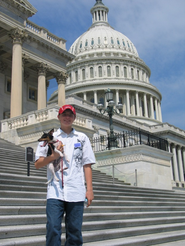 David Ashby, holding dog Dexter, in front the Capitol. Way to go, David!