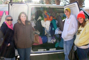 MIX 105.1 staff drop off blankets from yesterday's blanket drive.